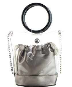 Round Handle 2 in 1 Clear Satchel With Plane Inner Bag Y102 PEWTER