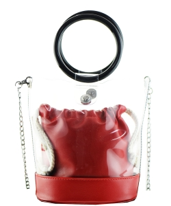 Round Handle 2 in 1 Clear Satchel With Plane Inner Bag Y102 RED