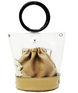 Round Handle 2 in 1 Clear Satchel With Plane Inner Bag Y102 STONE