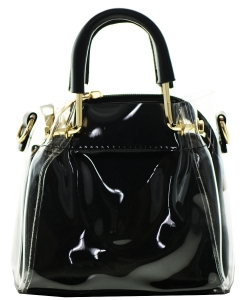 Round Handle 2 in 1 Clear Satchel With Pinstriped Inner Bag Y103 BLACK/BLACK