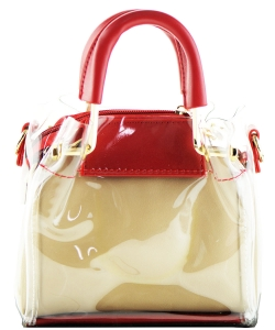 Round Handle 2 in 1 Clear Satchel With Pinstriped Inner Bag Y103 RED/STONE