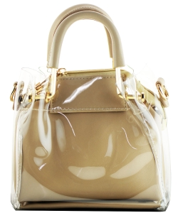 Round Handle 2 in 1 Clear Satchel With Pinstriped Inner Bag Y103 STONE/STONE