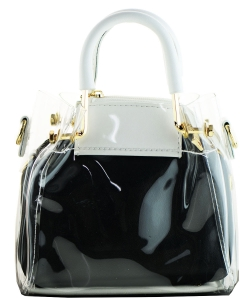 Round Handle 2 in 1 Clear Satchel With Pinstriped Inner Bag Y103 WHITE/BLACK