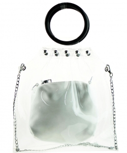 Round Handle 2 in 1 Clear Satchel With Plane Inner Bag Y104 WHITE
