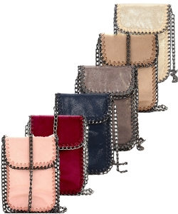 6 pcs Whipstitch Accent Metal Chain Cross Body Cellphone Case Y1722 ASSORTED