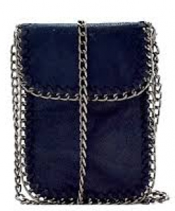 Whipstitch Accent Metal Chain Cross Body Cellphone Case Y1722 BLUE