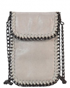 Whipstitch Accent Metal Chain Cross Body Cellphone Case Y1722 LGREY