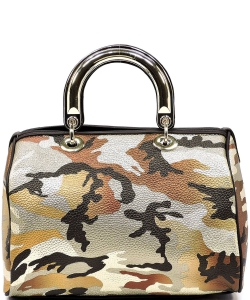 Metallic Camouflage Top Handle Satchel YH002 BROWN GOLD
