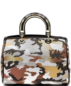 Metallic Camouflage Top Handle Satchel YH002 BROWN SILVER