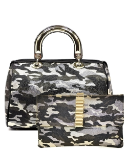 2 in 1 Camouflage Satchel with Clutch Purse YH002 CU017