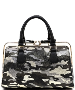 Metallic Camouflage Silde Zipper Satchel YH003 BLACK GOLD
