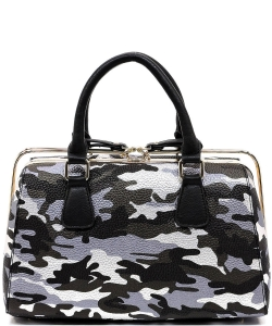 Metallic Camouflage Silde Zipper Satchel YH003 BLACK SILVER