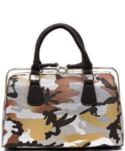Metallic Camouflage Silde Zipper Satchel YH003 BROWN SILVER