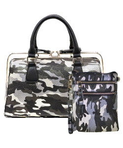 2 in 1 Camouflage Satchel with Crosssbody Bag CU002 YH003BKSL