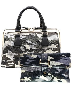 2 in 1 Camouflage Satchel with Clutch Purse YH003 CU006