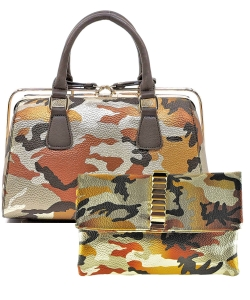 2 in 1 Camouflage Satchel with Clutch Purse YH003 CU017