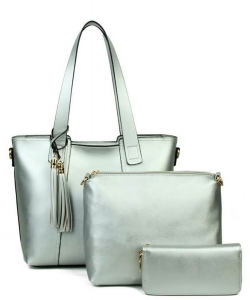Designer inspired handbag 3-in-1 Bag YH720-SILVER