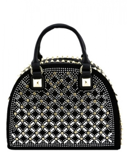 Designer Multi Rhinestone And Stud Semi Circle Satchel With Long YL1300N BLACK