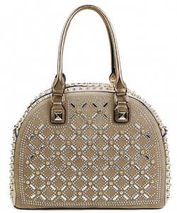 Designer Multi Rhinestone And Stud Semi Circle Satchel With Long YL1300N CHAMPAGNE