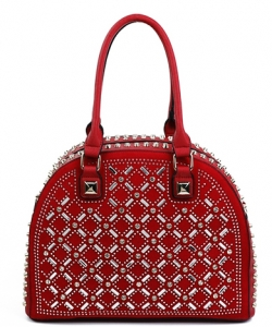 Designer Multi Rhinestone And Stud Semi Circle Satchel With Long YL1300N RED