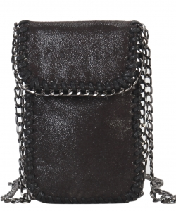 Whipstitch Accent Metal Chain Cross Body Cellphone Case Y1722 BLACK