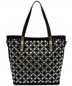 Elegant Mono Tone Colored With Rhinestones Decorated Fashion Handbag YL302 BLACK