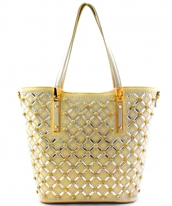 Elegant Mono Tone Colored With Rhinestones Decorated Fashion Handbag YL302 GOLD