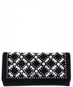 Faux Leather Wallet with Rhinestones YL310W BLACK