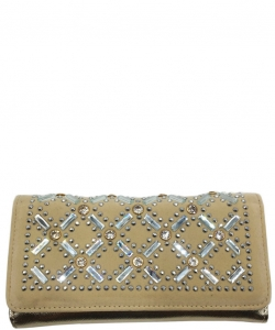 Faux Leather Wallet with Rhinestones YL310W CHAMPAGNE