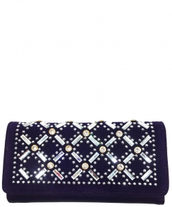 Faux Leather Wallet with Rhinestones YL310W PURPLE