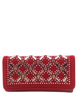 Faux Leather Wallet with Rhinestones YL310W RED
