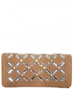 Faux Leather Wallet with Rhinestones YL310W ROSEGOLD