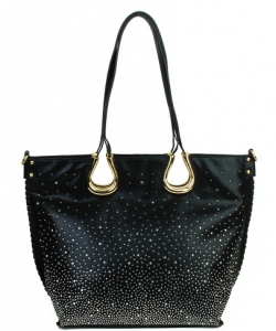 Elegant Mono Tone Colored With Rhinestones Decorated Fashion Handbag   BLACK  YN-130