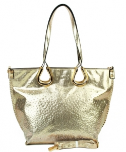 Elegant Mono Tone Colored With Rhinestones Decorated Fashion Handbag  GOLD YN-130