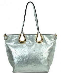 Elegant Mono Tone Colored With Rhinestones Decorated Fashion Handbag   SILVER YN-130
