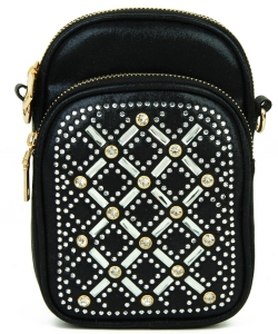 Rhinestone Phone Purse YN132 BLACK