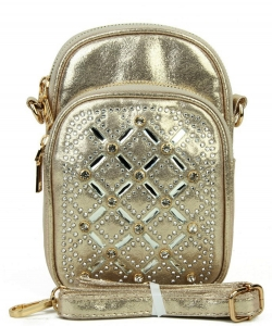 Rhinestone Phone Purse YN132 GOLD