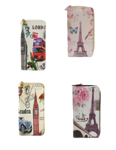 DESIGNER PARIS LONDON ILLUSTRATION SINGLE ZIP AROUND  12 PIECE SET WALLET YW666-4
