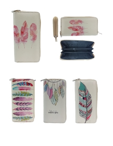 DESIGNER FEATHER ILLUSTRATION SINGLE ZIP AROUND  12 PIECE SET WALLET YWD002