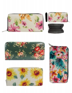 DESIGNER FLOWER ILLUSTRATION SINGLE ZIP AROUND  12 PIECE SET WALLET YWD004